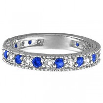 Diamond & Blue Sapphire Anniversary Ring Band in 14k White Gold (1.08 ctw)