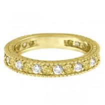 Fancy Yellow Canary & White Diamond Eternity Ring 14k Gold (1.00ct)