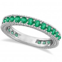 Emerald Eternity Ring Anniversary Ring Band 14k White Gold (1.16ct)