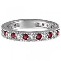 Diamond & Ruby Anniversary Ring Band 14k White Gold (1.08 ctw)