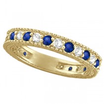 Diamond & Blue Sapphire Anniversary Ring Band in 14k Yellow Gold (1.08ctw)