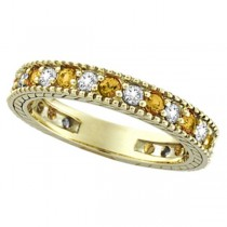 Diamond & Yellow Sapphire Eternity Ring Band 14k Yellow Gold (0.90ct)