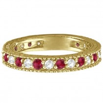 Diamond & Garnet Eternity Ring Filigree Band 14k Yellow Gold (1.08ctw)