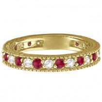 Diamond & Ruby Anniversary Ring Band 14k Yellow Gold (1.08ct)