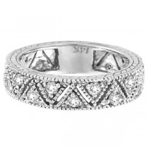 Vintage Style Diamond Anniversary Ring Band 14k White Gold (0.75ct)|escape