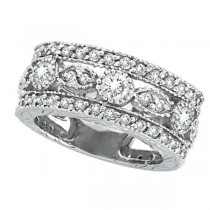 Antique Style Diamond Eternity Ring in 14k White Gold (2.08 ctw)