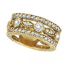 Antique Style Eternity Diamond Anniversary Ring 18k Yellow Gold (2.08ct)