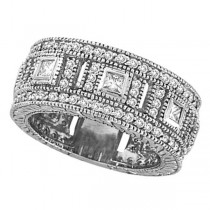 Round & Princess Eternity Diamond Byzantine Ring 14k White Gold (1.72ct)