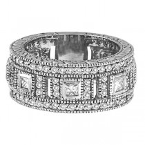 Round & Princess Eternity Diamond Byzantine Ring 14k White Gold (1.72ct)|escape