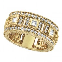 Round & Princess Eternity Diamond Byzantine Ring 14k Yellow Gold (1.72ct)