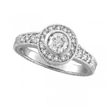 Antique Style Halo Diamond Ring Bezel Set 14K White Gold (0.80ct)