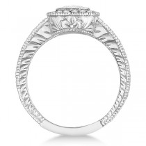 Antique Style Halo Diamond Ring Bezel Set 14K White Gold (0.80ct)|escape