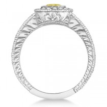 Yellow Canary & White Diamond Antique Style Ring 14K W Gold (0.80ct)|escape