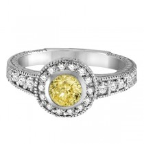 Yellow Canary & White Diamond Antique Style Ring 14K W Gold (0.80ct)