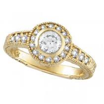 Antique Style Halo Diamond Ring Bezel Set 14K Yellow Gold (0.80ct)