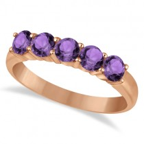 Five Stone Amethyst Ring 14k Rose Gold (1.60ctw)