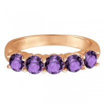 Five Stone Amethyst Ring 14k Rose Gold (2.20ctw)