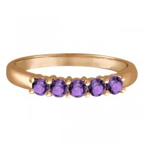 Five Stone Amethyst Ring 14k Rose Gold (0.79ctw)