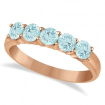Five Stone Aquamarine Ring 14k Rose Gold (1.60ctw)