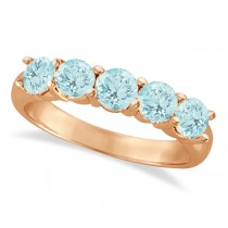 Five Stone Aquamarine Ring 14k Rose Gold (2.20ctw)