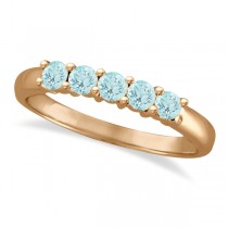 Five Stone Aquamarine Ring 14k Rose Gold (0.79ctw)