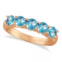 Five Stone Blue Topaz Ring 14k Rose Gold (2.20ctw)