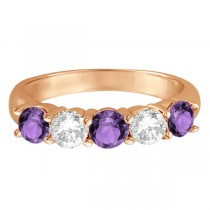 Five Stone Diamond and Amethyst Ring 14k Rose Gold (1.92ctw)