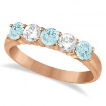 Five Stone Diamond and Aquamarine Ring 14k Rose Gold (1.36ctw)