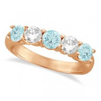 Five Stone Diamond and Aquamarine Ring 14k Rose Gold (1.92ctw)