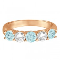 Five Stone Diamond and Aquamarine Ring 14k Rose Gold (1.92ctw)