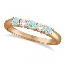 Five Stone Diamond and Aquamarine Ring 14k Rose Gold (0.67ctw)