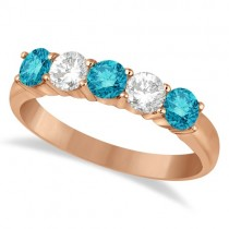 Five Stone White and Blue Diamond Ring 14k Rose Gold (1.00ctw)