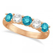 Five Stone White and Blue Diamond Ring 14k Rose Gold (1.50ctw)