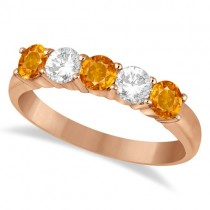 Five Stone Diamond and Citrine Ring 14k Rose Gold (1.36ctw)