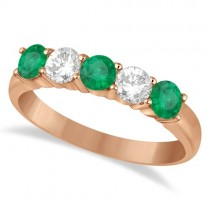 Five Stone Diamond and Emerald Ring 14k Rose Gold (1.08ctw)