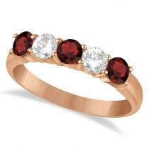 Five Stone Diamond and Garnet Ring 14k Rose Gold (1.36ctw)