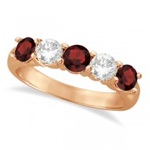 Five Stone Diamond and Garnet Ring 14k Rose Gold (1.92ctw)