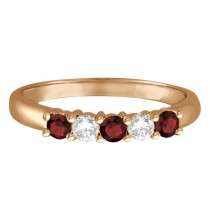 Five Stone Diamond and Garnet Ring 14k Rose Gold (0.67ctw)