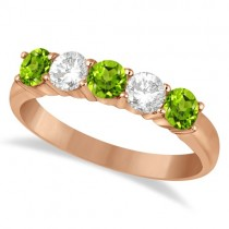 Five Stone Diamond and Peridot Ring 14k Rose Gold (1.36ctw)