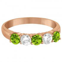 Five Stone Diamond and Peridot Ring 14k Rose Gold (1.36ctw)