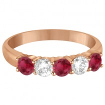 Five Stone Diamond and Ruby Ring 14k Rose Gold (1.08ctw)