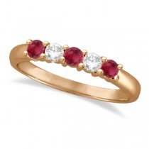 Five Stone Diamond and Ruby Ring 14k Rose Gold (0.55ctw)
