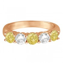 Five Stone White & Fancy Yellow Diamond Ring 14k Rose Gold (1.50ctw)