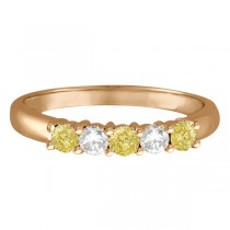 Five Stone White & Fancy Yellow Diamond Ring 14k Rose Gold (0.50ctw)