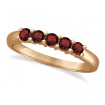 Five Stone Garnet Ring 14k Rose Gold (0.79ctw)