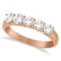 Five Stone Diamond Ring Anniversary Band 18k Rose Gold (1.00ct)