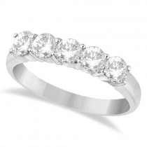 Five Stone Diamond Ring Anniversary Band 18k White Gold (1.00ct)
