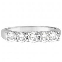 Five Stone Diamond Ring Anniversary Band 18k White Gold (1.00ct)