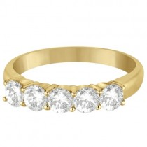 Five Stone Diamond Ring Anniversary Band 18k Yellow Gold (1.00ct)