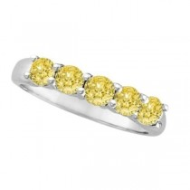 Five Stone Fancy Yellow Canary Diamond Anniversary Ring 14k White (1.00ct)